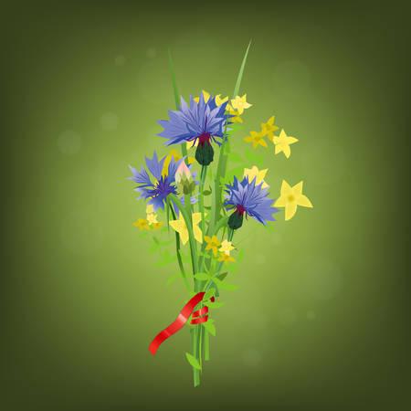 posy: The illustration of fresh cornflower posy. Vector Image. Illustration