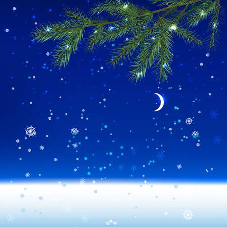 The illustration of snow landscape Background. Vector image.