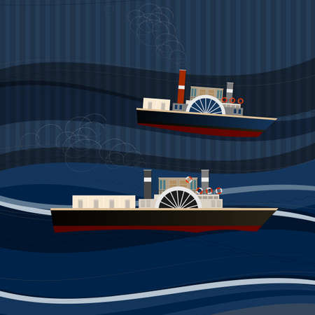 promenade: Vector illustration of abstract pattern with ships