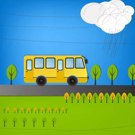 Vector illustration of yellow bus on the road Vector