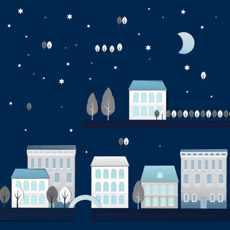 city landscape: Vector illustration of night city landscape