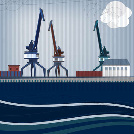Vector illustration of abstract landscape with harbour crane Illustration