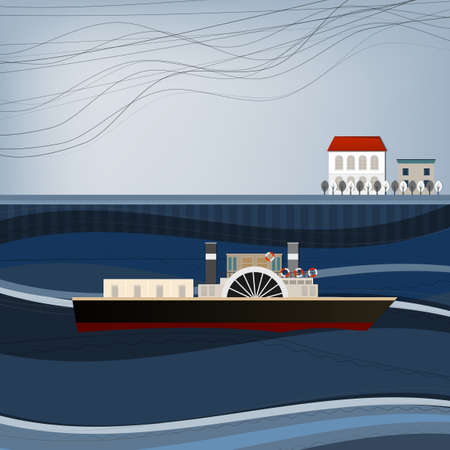 Vector illustration of abstract embankment pattern with ship