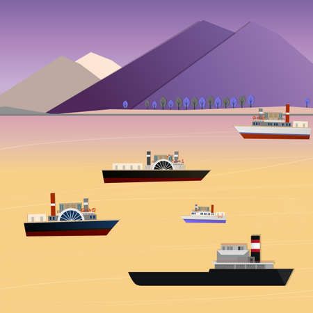 Vector illustration of abstract landscape with cargo vessel Illustration