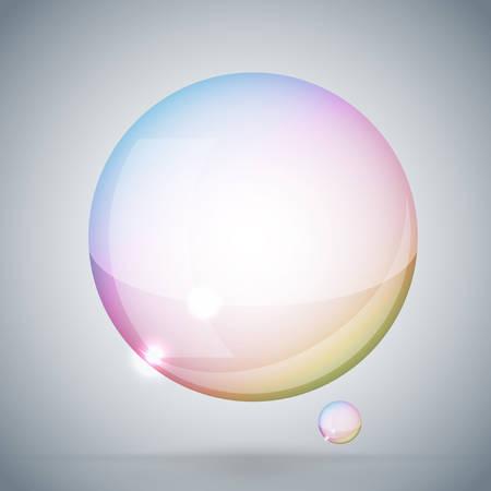 soap bubble on gray background Illustration