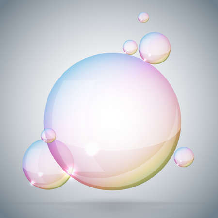 soap bubble on gray background Vector