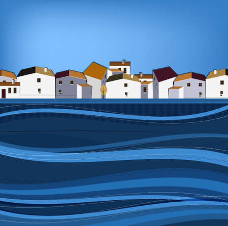 seafront: Vector illustration of abstract town landscape