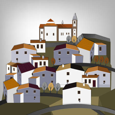Vector illustration of abstract town landscape