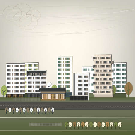 city landscape: Vector illustration of abstract city landscape