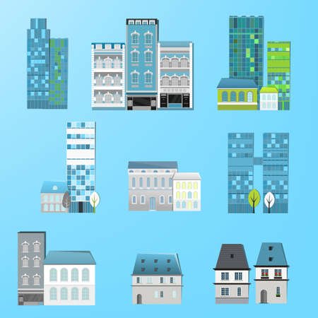 Vector illustration of different city houses Vector