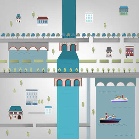 aqueduct: Vector illustration of city map Illustration