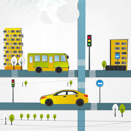 Vector illustration of abstract roads with yellow cars