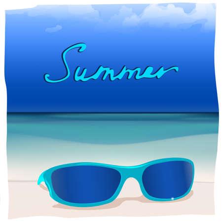The illustration of  beautiful glasses on the seashore  Vector image  Illustration