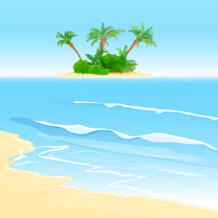 The illustration of beautiful seashore background with small tropical island  Vector image  Illustration