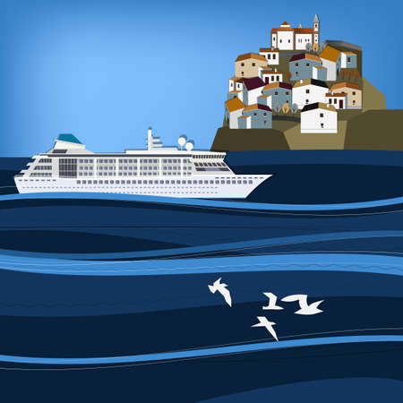 Vector illustration of abstract seascape with cruise liner