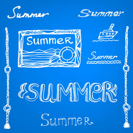 Hand drawn decorative summer set  Vector image