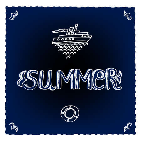 Sea decorative background with waves, ships and Summer letters Vector
