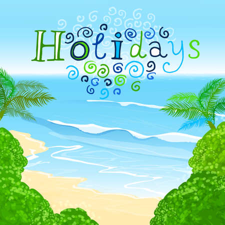 The illustration of beautiful summer background with blue sae and palms. Vector image.