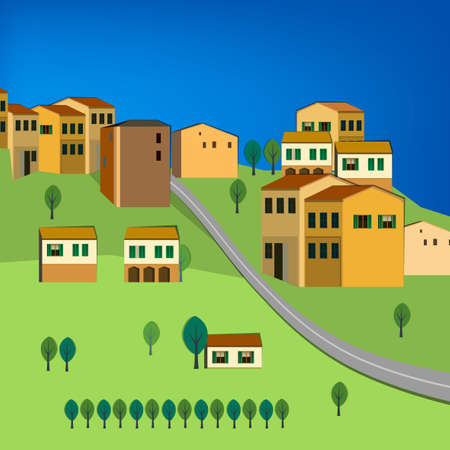 Vector illustration of abstract Italy  city landscape Illustration