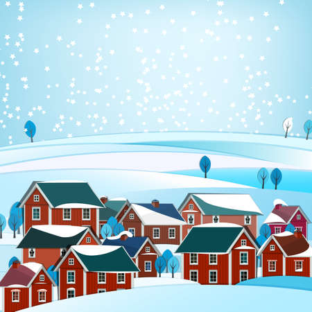 snow drifts: Vector illustration of abstract winter city landscape