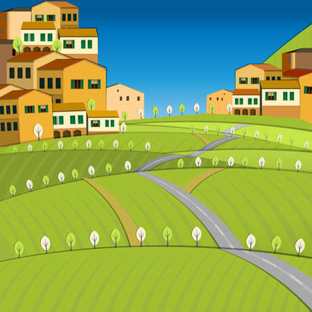 small house: Vector illustration of abstract Italy  city landscape Illustration