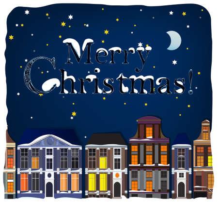Vector illustration of winter Holland town landscape Vector