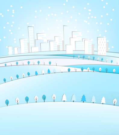 city landscape: Vector illustration of abstract winter city landscape