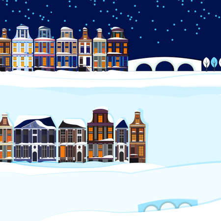 Vector illustration of Holland winter town landscape Vector