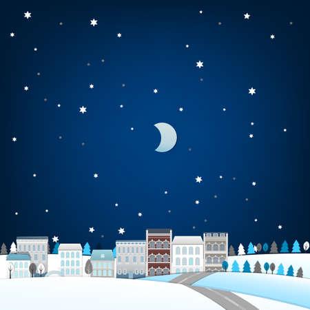 Vector illustration of winter town landscape Vector