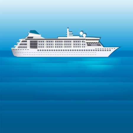 keel: The illustration of cruise liner sailing on a blue sea. Vector image.