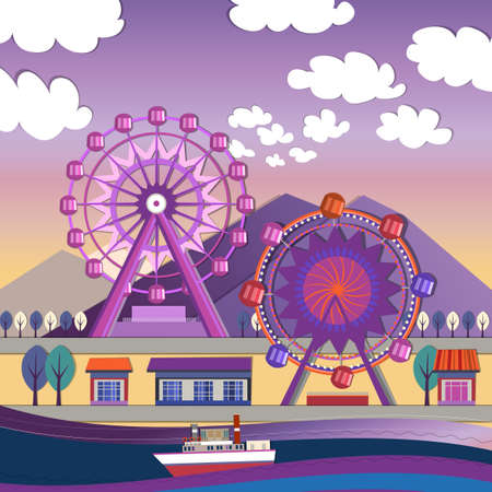 turnabout: Vector illustration of City amusement park