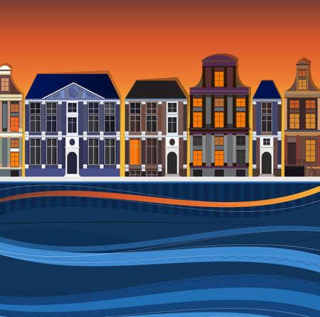 Vector illustration of Holland town landscape