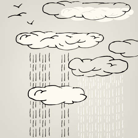 downfall: Artistic illustration of rainy sky. Vector image.