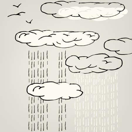 rainy sky: Ilustraci�n art�stica del cielo lluvioso. Vector de imagen. Vectores