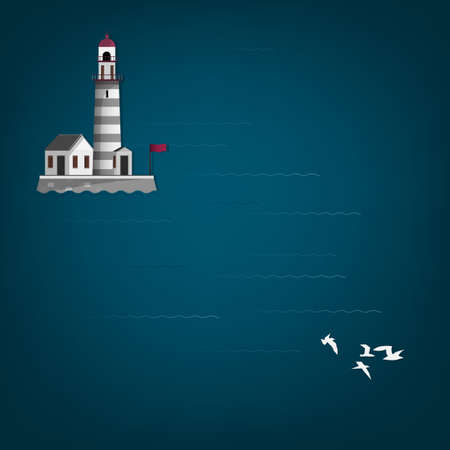 Vector illustration of abstract seascape with lighthouse Illustration
