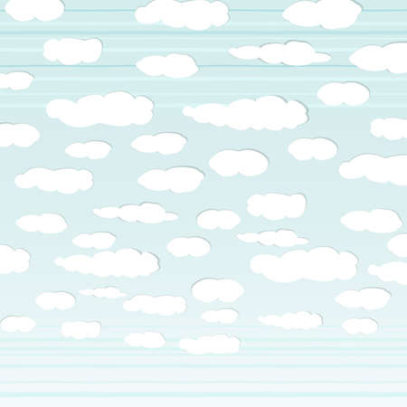 downy: The illustration of cloudy sky. Vector image.