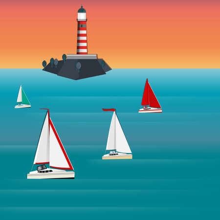 barque: Vector illustration of seascape with lighthouse and sailboat