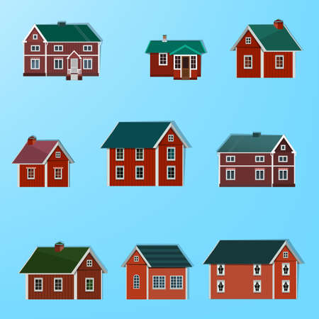 Vector illustration of different town houses Vector