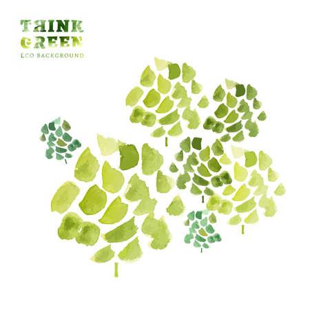think green: Piensa Verde. Ecolog�a concepto. La Ilustraci�n con fondo ecol�gico. Dibujado a mano vector de imagen. Foto de archivo