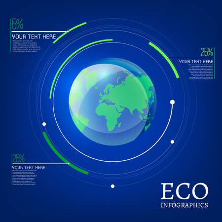 reforestation: The illustration of ecological globe infographic. Ecology Concept.