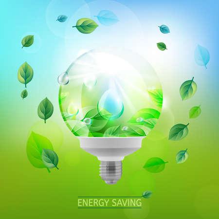 lighting bulb: The illustration of ecological green lighting bulb.