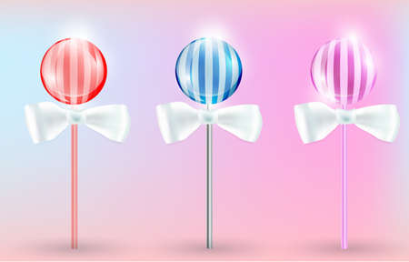 Vector illustration of the transparent lollypops with stripes on the pink background