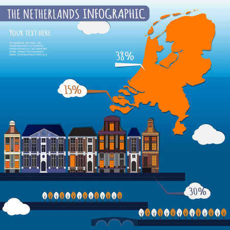 transportation facilities: Vector illustration of The Netherlands infographics with stylish roads, rivers and buildings. Vector image.