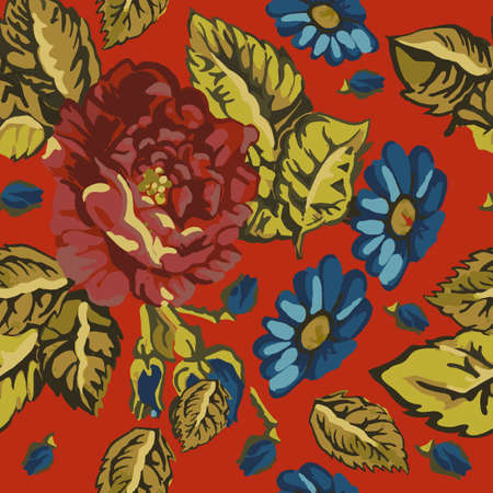 The illustration of beautiful seamless floral pattern. Vector handdrawn image illustration