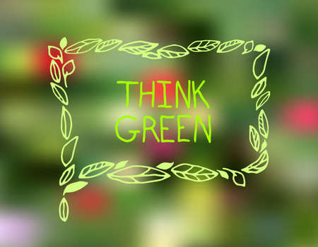 environmentally friendly: Vector hand drawn Illustration of environmentally friendly speech bubble. Think Green. Ecology Concept. Stock Photo