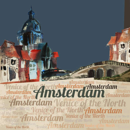amsterdam canal: The illustration of  beautiful Amsterdam city hand drawn graphic. Vector image. Stock Photo