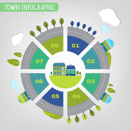 resident: Beautiful illustration of abstract eco town infographics. Vector image.