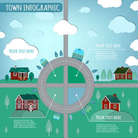 web design bridge: Beautiful illustration of abstract eco town infographics. Vector image.