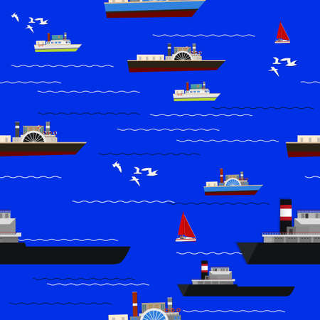 oceanside: Marine seamless pattern with different ships and waves. Vector background.