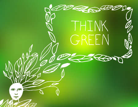 environmentally friendly: Vector hand drawn Illustration of environmentally friendly speech bubble. Think Green. Ecology Concept. Illustration